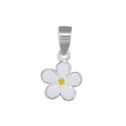 Sterling Silver enamelled Daisy pendant 0.6g